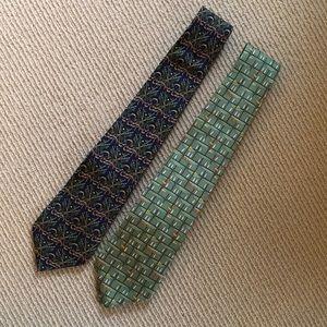Ferragamo Ties (2)- Silk, Green, Blue